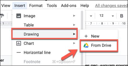Haga clic en Insertar></noscript> Dibujo> Desde Drive para agregar un dibujo con dibujos de Google a su documento de Google Docs. «Width =» 440 «height =» 230 «onload =» pagespeed.lazyLoadImages.loadIfVisibleAndMaybeBeacon (this); «onerror =» this.onerror = null; pagespeed.lazyLoadImages.loadIfVisibleAndMaybeBeacon (esto); «/></p> <p>Seleccione su imagen de dibujo de Google guardada en el campo «Insertar dibujo» y luego haga clic en el botón «Seleccionar» para agregarla a su documento.</p> <p><img   alt=