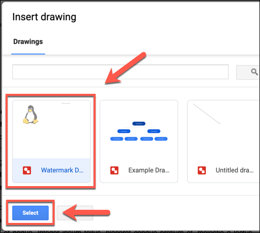 Seleccione su imagen de Dibujos de Google guardada y haga clic en Seleccionar para agregarla a su documento de Google Docs