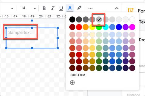 Texto de muestra con un color de texto más claro en Dibujos de Google