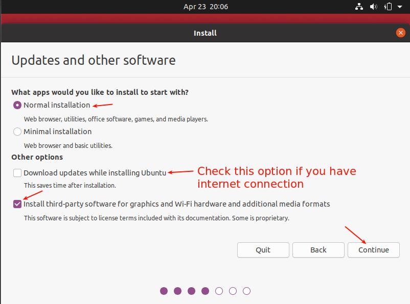 Elija el tipo de instalación de Ubuntu