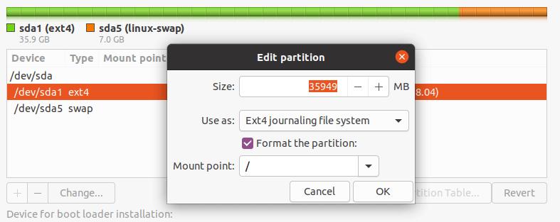 Editar partición para la instalación de Ubuntu