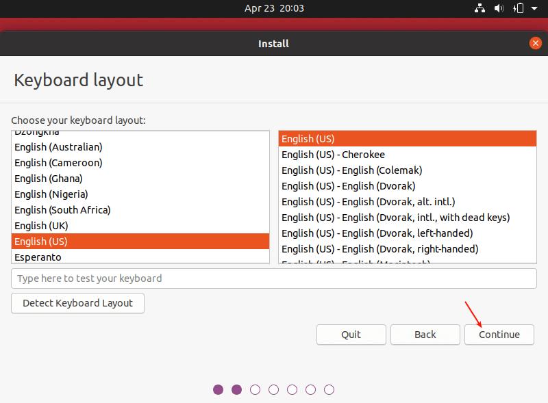 Seleccionar diseño de teclado