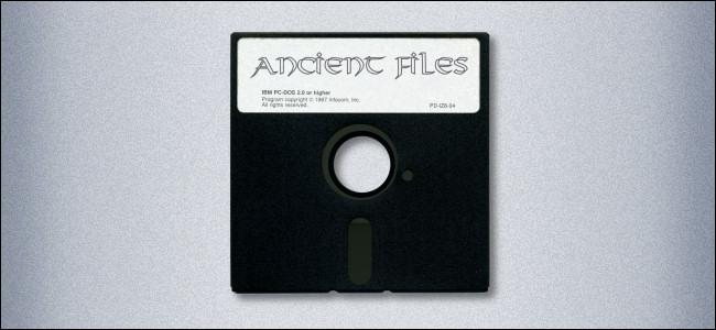 Un disquete de 5,25 pulgadas etiquetado