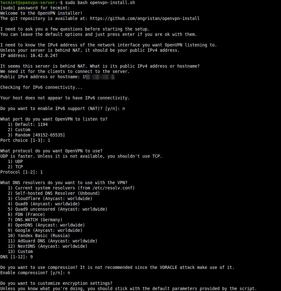 Ejecute el script de instalación de OpenVPN