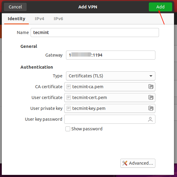 Configuración de VPN agregada