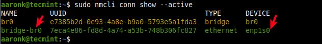 Verifique las conexiones de red activas