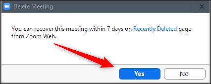 Confirmar la eliminación de la reunión.