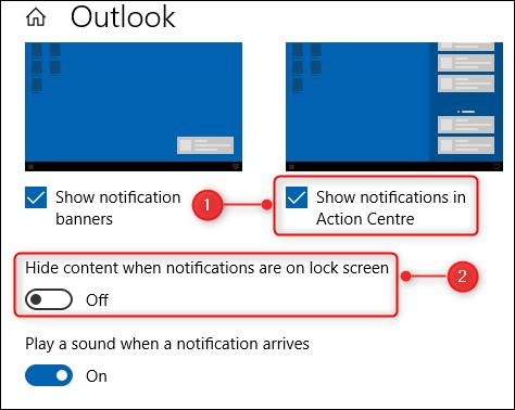 Dos de las opciones en las opciones de notificación de Outlook.