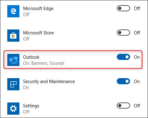 La opción de aplicación de Outlook.
