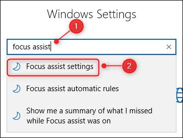 El cuadro de búsqueda Configuración de Windows.