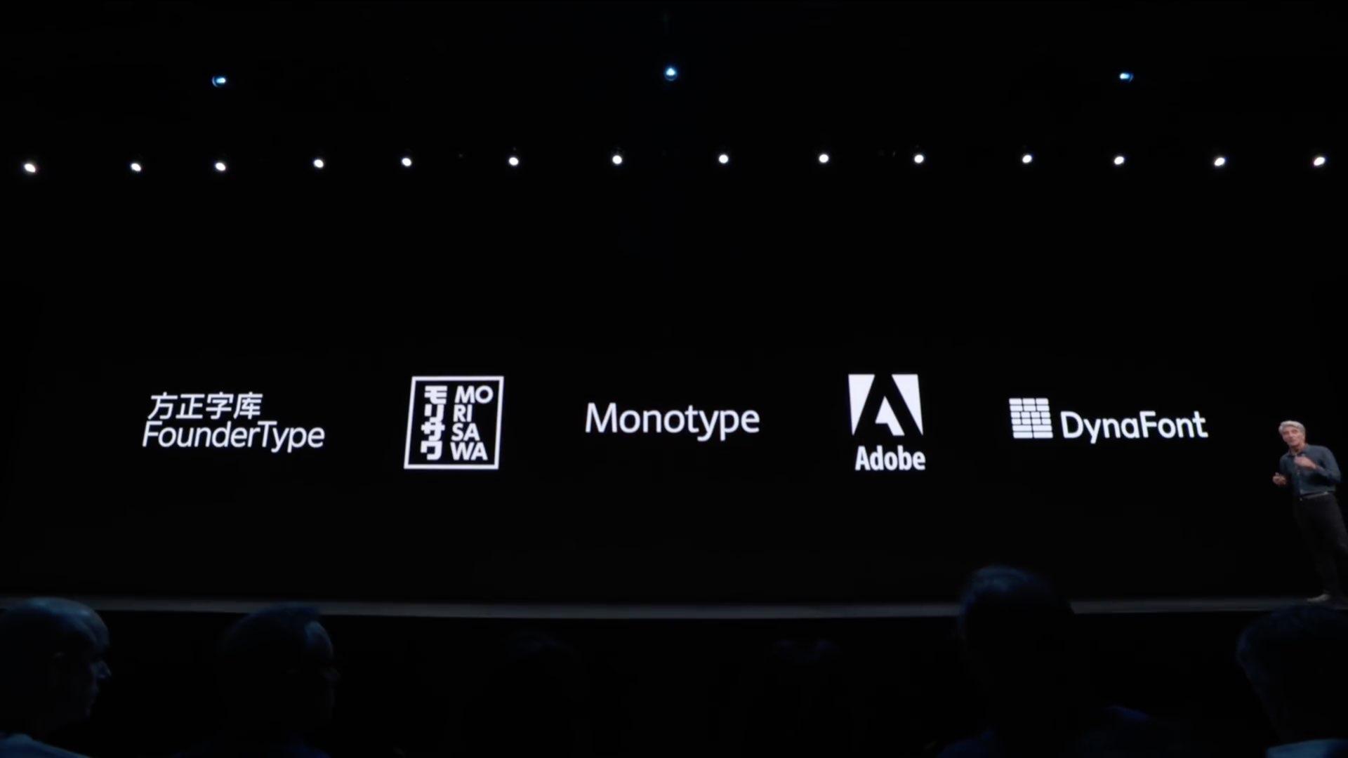 WWDC 2019 Folie Craig Federighi iOS 13 Schriftquellen