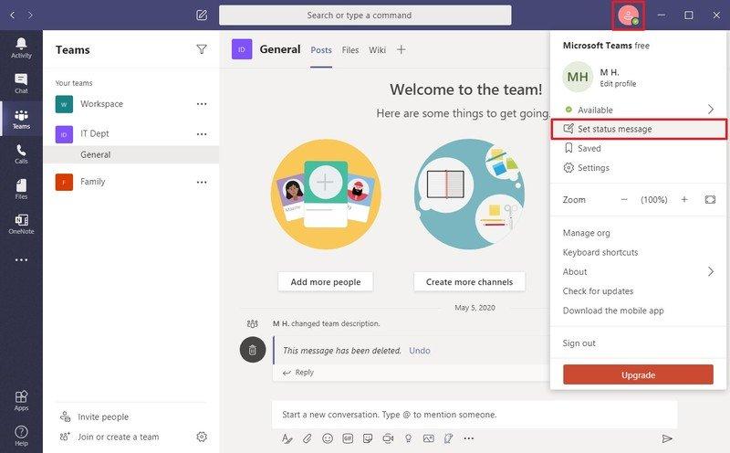 Microsoft Teams establece la opción de mensaje de estado