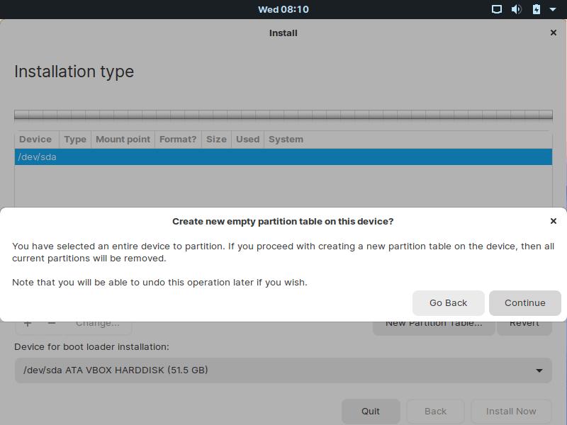 Confirme para crear una nueva tabla de particiones