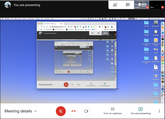 Una pantalla compartida en Google Meet.