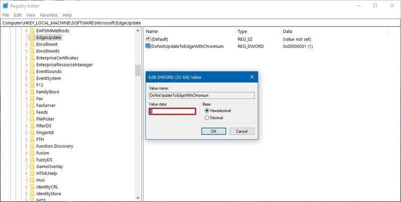 Desactiva la instalación automática de Microsoft Edge Chromium en Windows 10