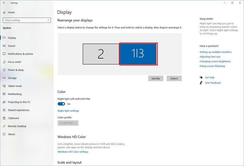 Seleccione la opción de visualización de Windows 10