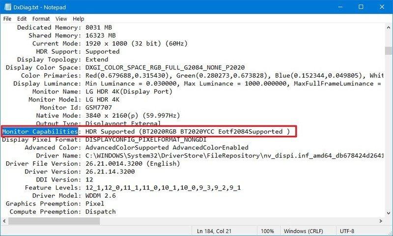 Funciones de monitoreo de Windows 10 para HDR