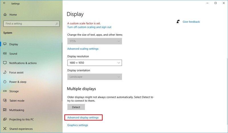 Opción de configuración de pantalla avanzada de Windows 10