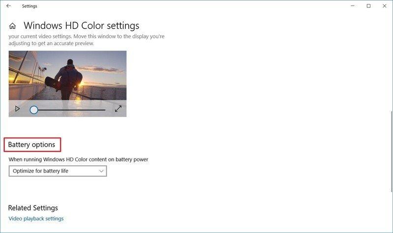 Opciones de batería de Windows HD