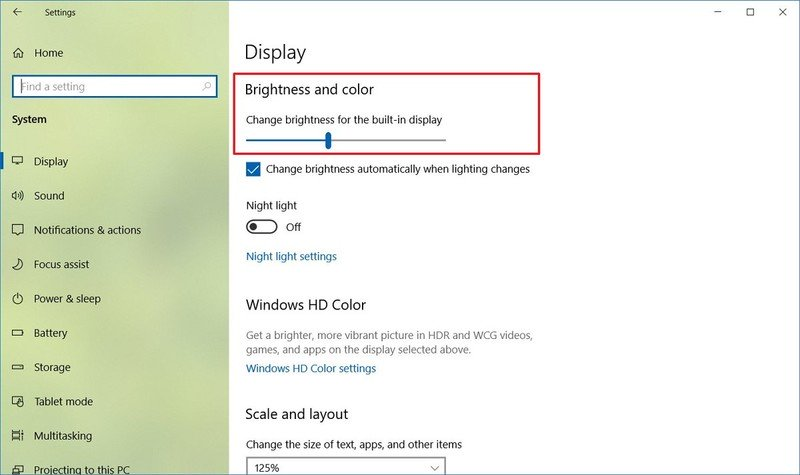 Cambiar la corrección de brillo de Windows 10 HDR