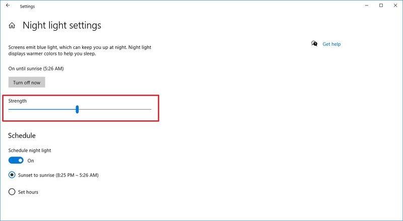 Ajuste el nivel de luz nocturna en Windows 10