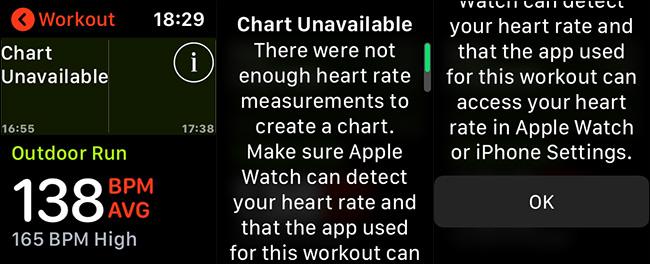 Mensajes de error de frecuencia cardíaca de Apple Watch