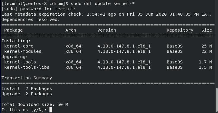 Actualice el kernel en CentOS 8