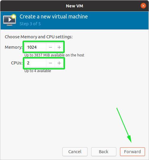 Seleccione memoria y CPU para VM