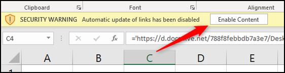 Activa el contenido para actualizar enlaces