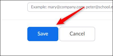 Botón Guardar para programar reuniones