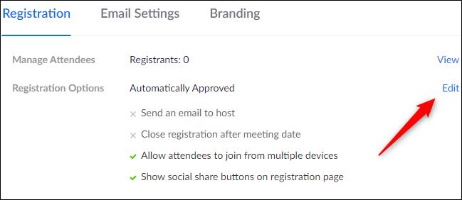 Botón Editar en las opciones de registro