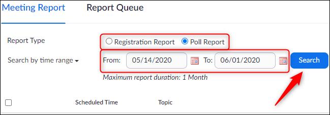 Tipo de informe y configuración de fecha