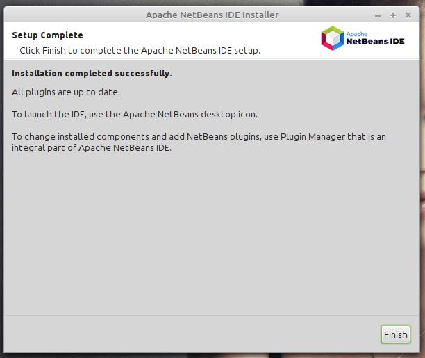 La instalación de NetBeans IDE ha finalizado.