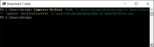 Actualice un archivo zip existente usando el parámetro -Update.