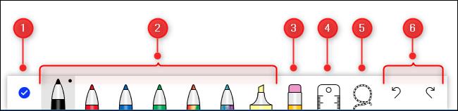 Las herramientas de entintado se dividen en secciones.