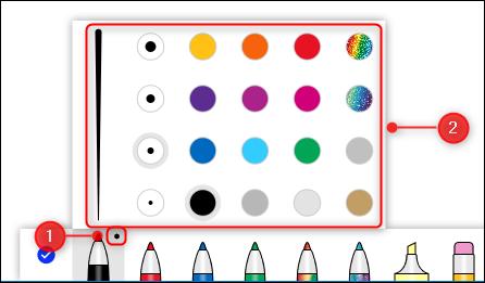 Las opciones de ancho y color para bolígrafos.