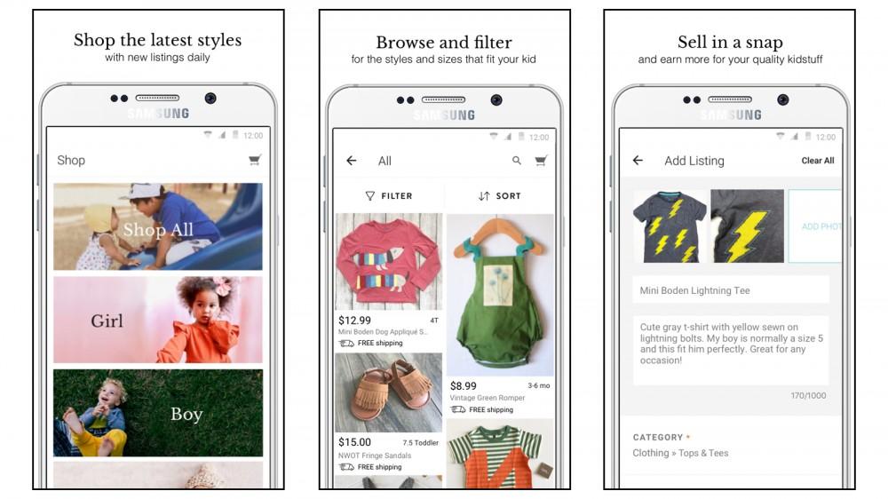 Los niños compran y venden ropa usada para niños en línea