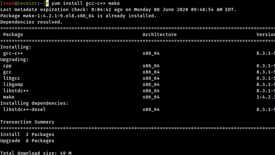 Instale las herramientas de desarrollo en CentOS