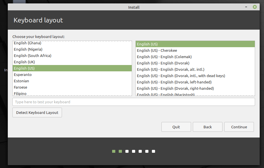 Seleccione la distribución del teclado Linux Mint 20