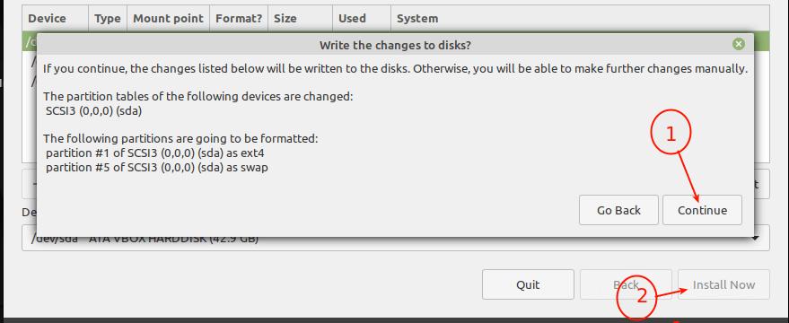 Confirme los cambios de partición en el disco duro
