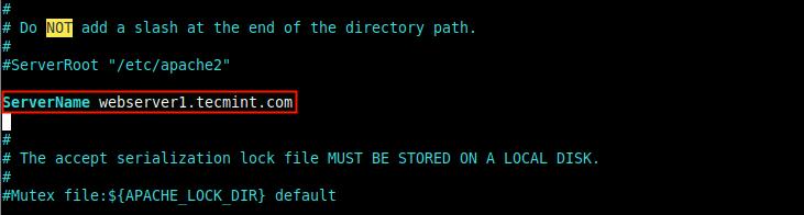 Establecer el FQDN del servidor en Apache