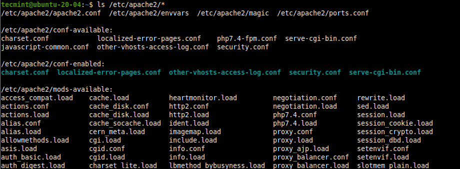 Mostrar archivos de configuración de Apache