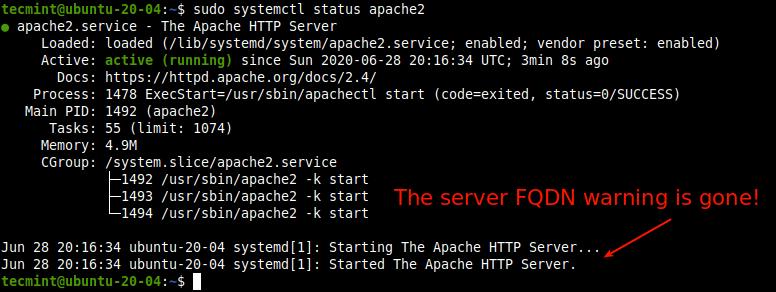 Verifique el estado del servicio Apache