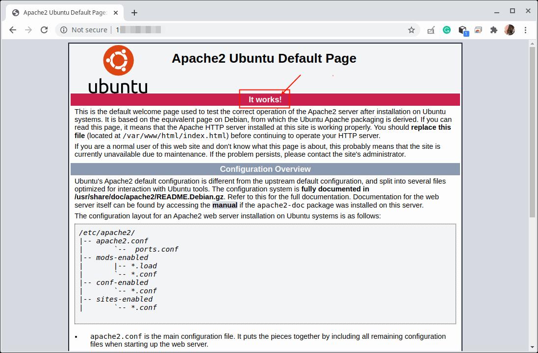 Página estándar de Apache2