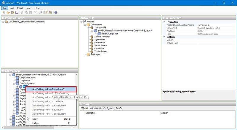 Configuración del disco duro para el Pase 1