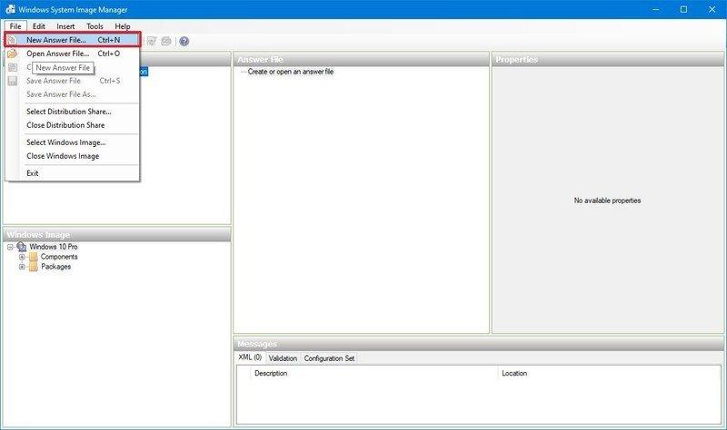 Crear un archivo de respuesta de Windows 10