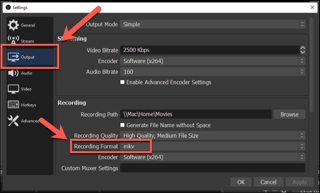 Para cambiar el formato de grabación OBS, presione Configuración></noscript> Salida y luego seleccione un formato de archivo diferente en la sección «Formato de grabación». «Width =» 649 «height =» 392 «onload =» pagespeed.lazyLoadImages.loadIfVisibleAndMaybeBeacon (esto); «onerror =» this.onerror = null; pagespeed.lazyLoadImages.loadIfVisibleAndMaybeBeacon (this); «/></p> <p>Si bien OBS se guarda como archivos de video, puede usar VLC para convertir videos a MP3, eliminar el contenido de video redundante y obtener un archivo de solo audio que puede exportar y usar en otro lugar.</p> <p><strong>CONECTADO:</strong> <strong><em>Cómo convertir archivos de video a MP3 usando VLC</em></strong></p> </div> <p><script> setTimeout(function(){ !function(f,b,e,v,n,t,s) {if(f.fbq)return;n=f.fbq=function(){n.callMethod? n.callMethod.apply(n,arguments):n.queue.push(arguments)}; if(!f._fbq)f._fbq=n;n.push=n;n.loaded=!0;n.version='2.0'; n.queue=[];t=b.createElement(e);t.async=!0; t.src=v;s=b.getElementsByTagName(e)[0]; s.parentNode.insertBefore(t,s) } (window, document,'script', 'https://connect.facebook.net/en_US/fbevents.js'); fbq('init', '335401813750447'); fbq('track', 'PageView'); },3000); </script></p> <div style=