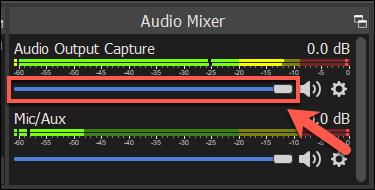 La barra de volumen para una fuente de grabación de audio OBS