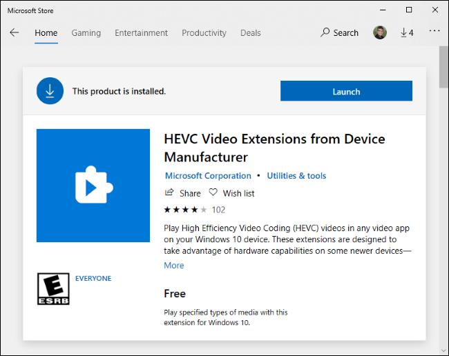Extensiones de video HEVC gratuitas en Microsoft Store.