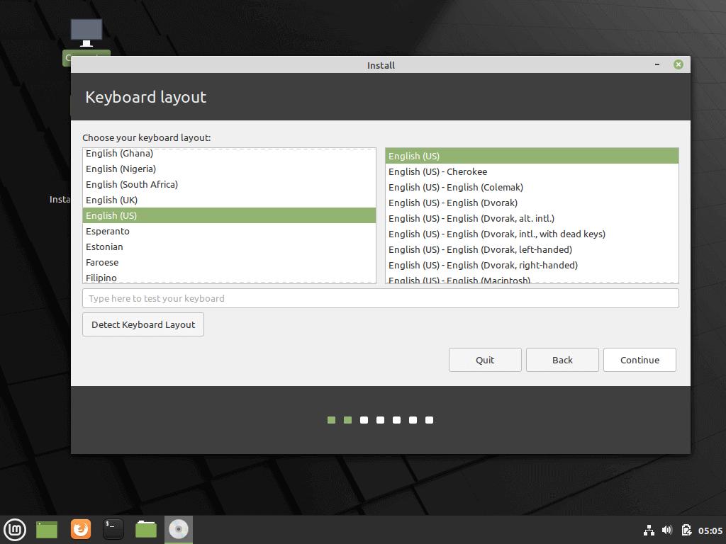 Elija la distribución del teclado